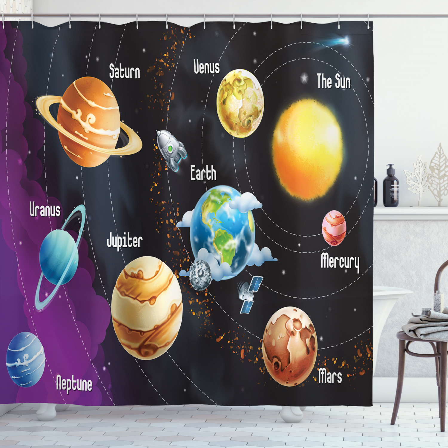 Details about  /Solar System Planets in Hands Black White Waterproof Fabric Shower Curtain Set