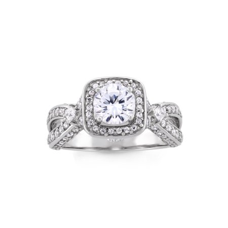 Cubic Zirconia Sterling Silver Platinum Plated Square Halo Ring