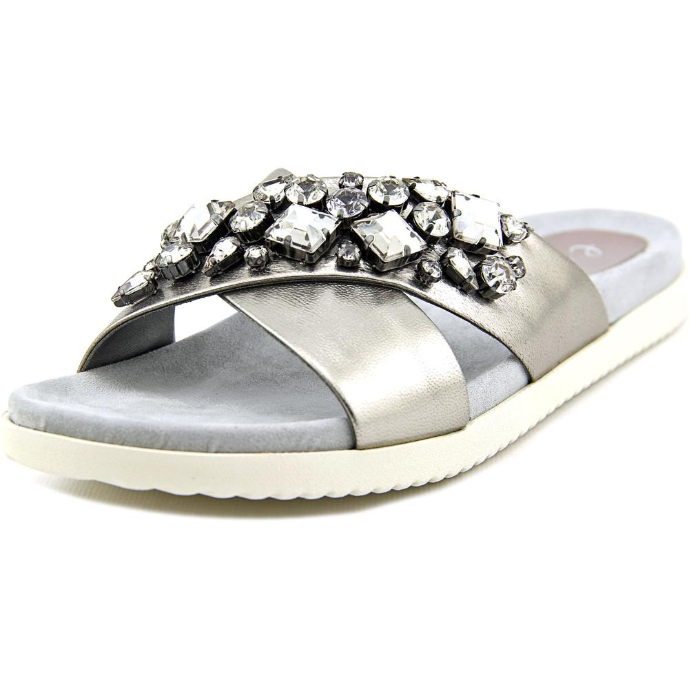 Easy Spirit Marvina Women Open Toe Leather Silver Slides Sandal by Easy Spirit