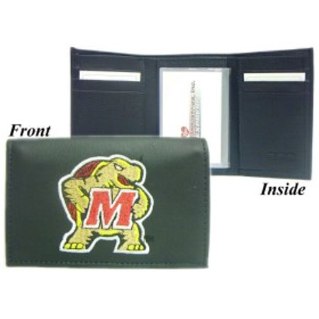Maryland Terrapins Embroidered Leather Tri-Fold Wallet - Maryland Terrapins Leather