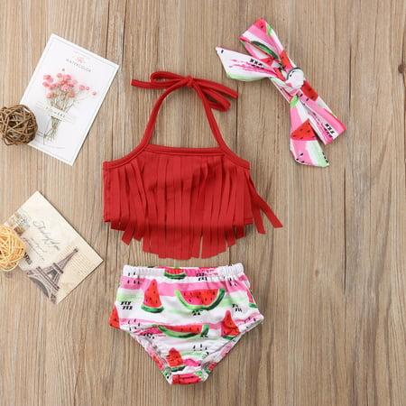 Summer Newborn Baby Girl Tassel Bikini Suit Swimwear Fruits Outfits Set Clothes