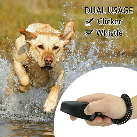 2in1 Black Dog Pet Puppy Cat Training Clicker & Whistle Click Trainer Obedience ()