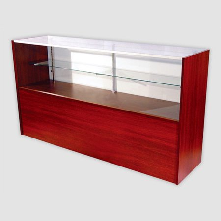 RETAIL GLASS DISPLAY CASE HALF VISION WALNUT 4' SHOWCASE