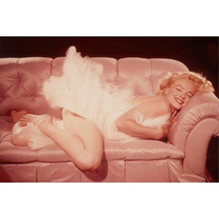 Marilyn Monroe Lying on Pink Couch 36x24 Art Print Poster   Photograph Smiling Sexy Hollywood -