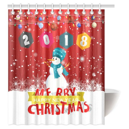 POP Merry Christmas and Happy New Year 2018 Shower Curtain, Christmas Snowman Winter Snowkids Snowing Snowflakes Bathroom Shower Curtain 60x72 inch - image 3 of 3