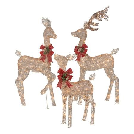 Holiday Time Light-up Outdoor 3-Piece Glitter Reindeer Decoration Set ()