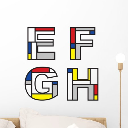 Mondrian Alphabets Part Full Wall Decal by Wallmonkeys Peel and Stick Graphic (18 in W x 18 in H) WM177382