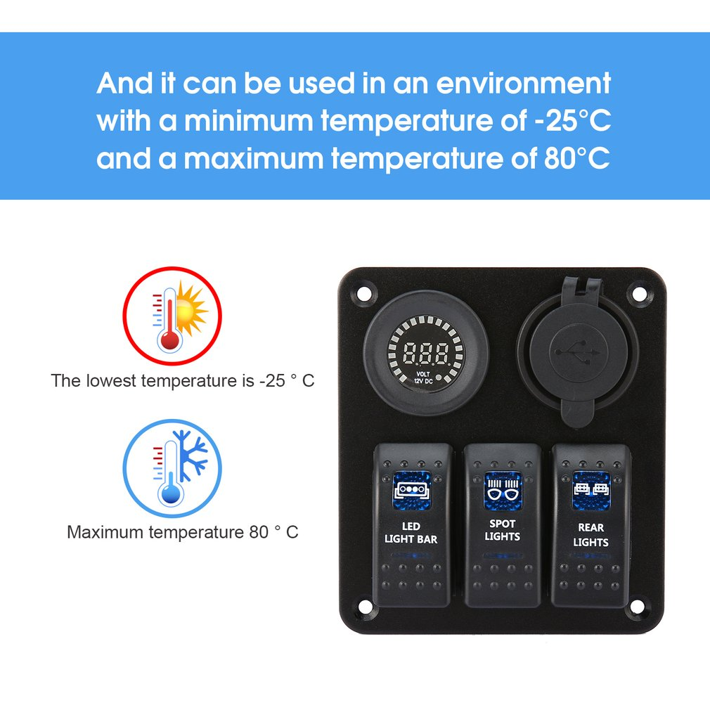 3 Gang Car Marine Boat Led Rocker Switch Panel Waterproof Circuit Aluminium And Voltmeter Breaker With Digital Dual Usb Charger