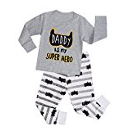 Kidlove Kids Boy Girl Cartoon Bat Print 2 Piece Pajama Set Sleepwear Outfit Grey