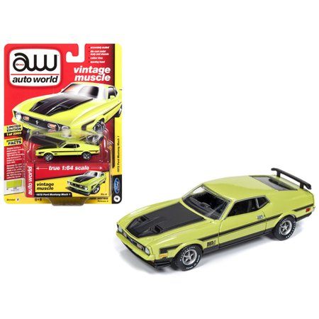 Ford Mustang Stripes (1972 Ford Mustang Mach 1 Lime Green w/ Black Stripes Limited Edition to 3,960 pieces 1/64 Diecast Model Car by)