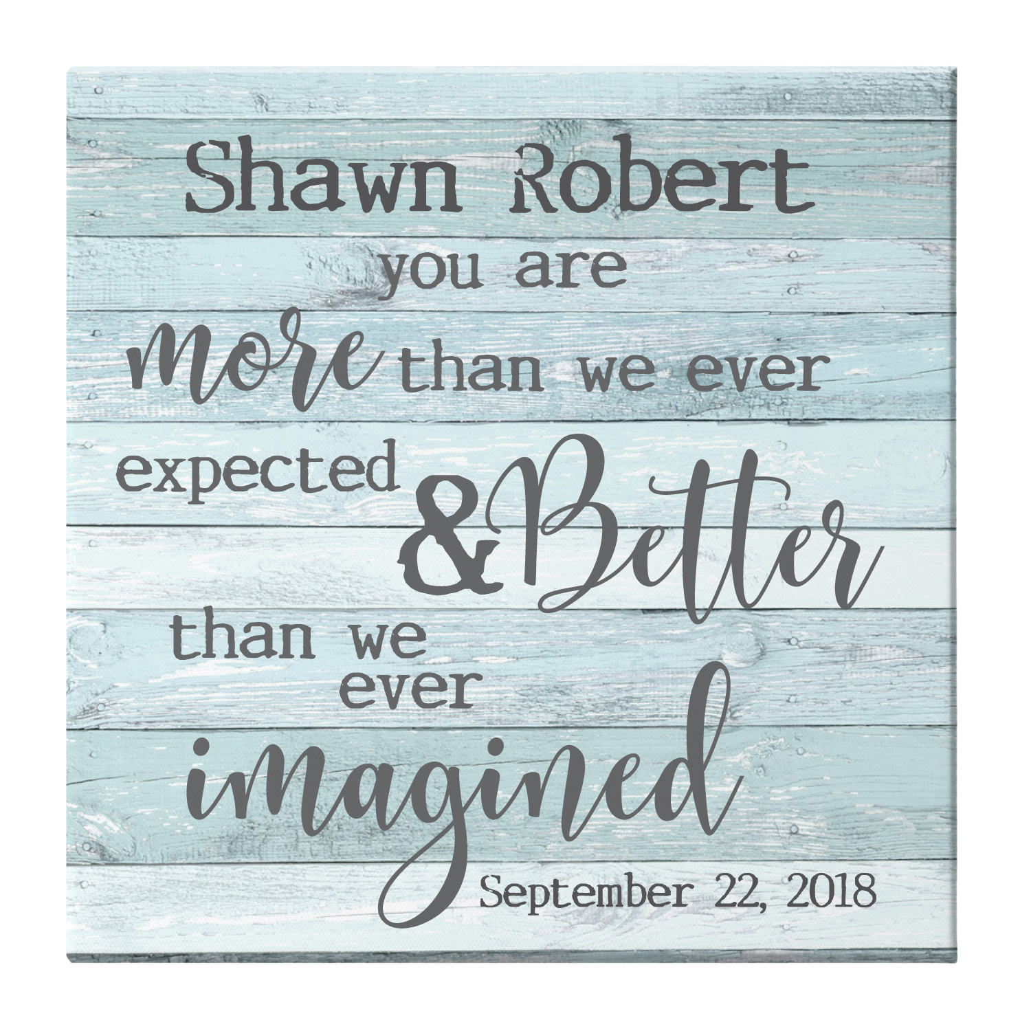 Personalized More Than We Expected Baby Canvas - 11x11 Available in 2 Sizes and 2 Colors