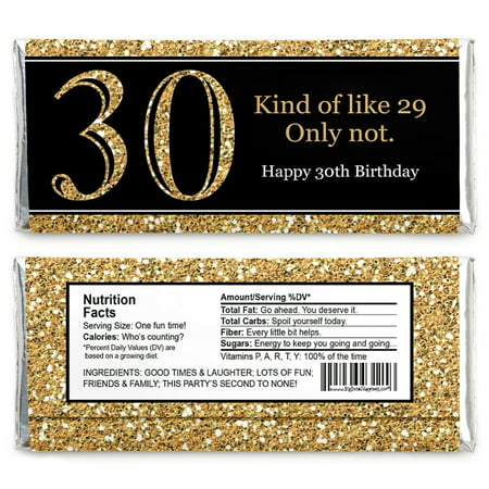 Adult 30th Birthday - Gold - Candy Bar Wrappers Birthday Party Favors - Set of 24 - 30th Birthday Photo Shoot Ideas