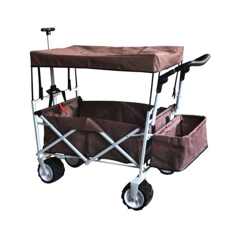 BROWN OUTDOOR FOLDING WAGON CANOPY GARDEN STROLLER TRAVEL CART ALL TERRAIN WHEEL