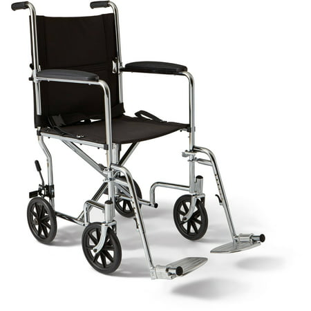 "Medline Steel Transport Chair, 19"" Wide Seat, Permanent Full-Length Arms, Swing Away Footrests"