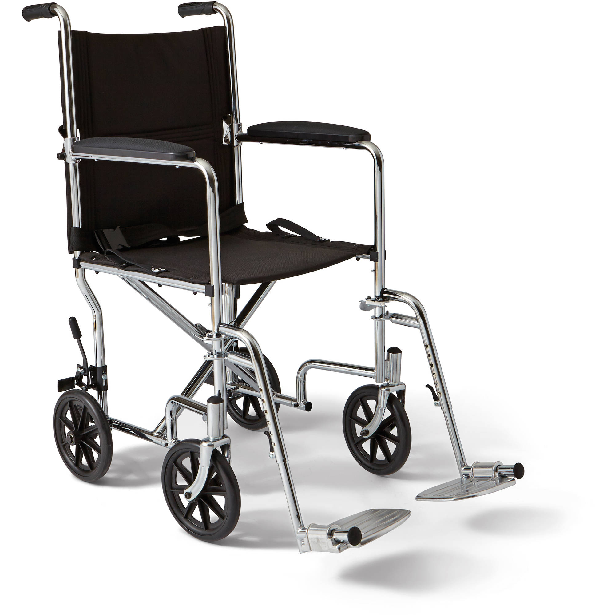 """Medline Steel Transport Chair, 19"""" Wide Seat, Permanent Full-Length Arms, Swing Away Footrests"""