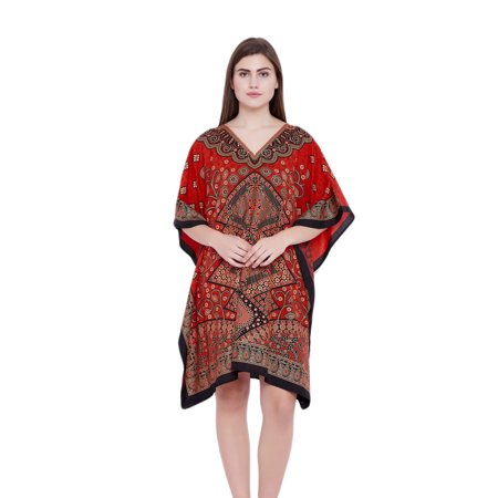 Red Tunics for Women Floral Ladies Plus Size Tunic Top Dresses for Women's Short Plus Size Kaftan Christmas Free Size Gifts for Her Online by Oussum ()