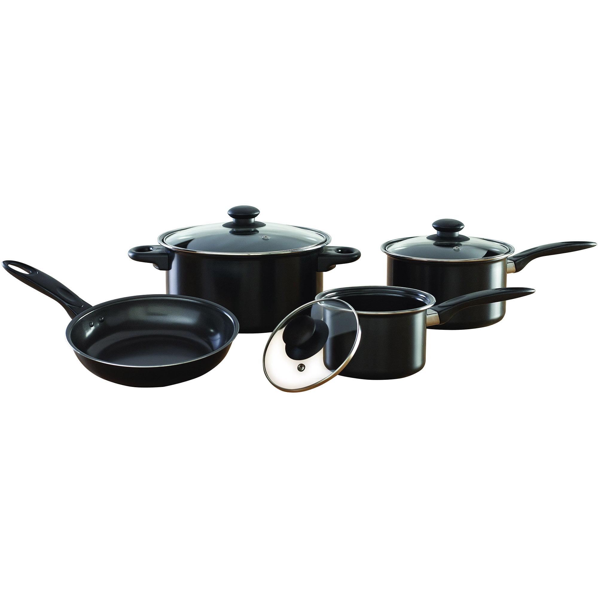 Mainstays 7Piece Nonstick Cookware Set Black Walmartcom