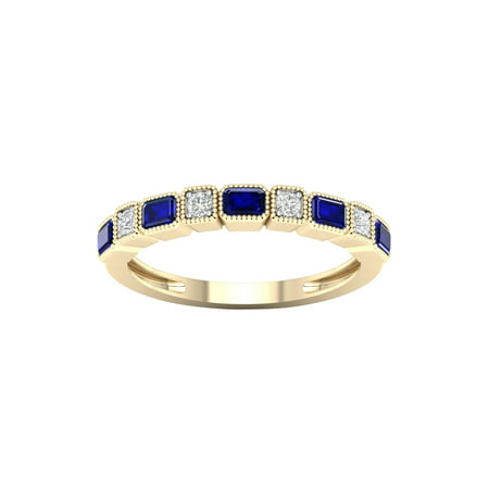 Imperial Gemstone 10K Yellow Gold Blue Sapphire 1/20 CT TW Diamond Women's Band Blue Topaz White Gold Bands