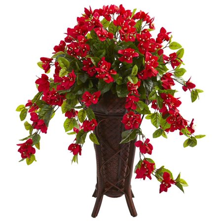 Red Bamboo Pot (33 in. Bougainvillea Artificial Plant in Stand)