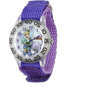 Tinker Bell Girls' Plastic Case Watch, Purple Nylon Strap