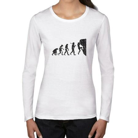 Evolution of Man Rock Climbing Classic Graphic Women's Long Sleeve T-Shirt