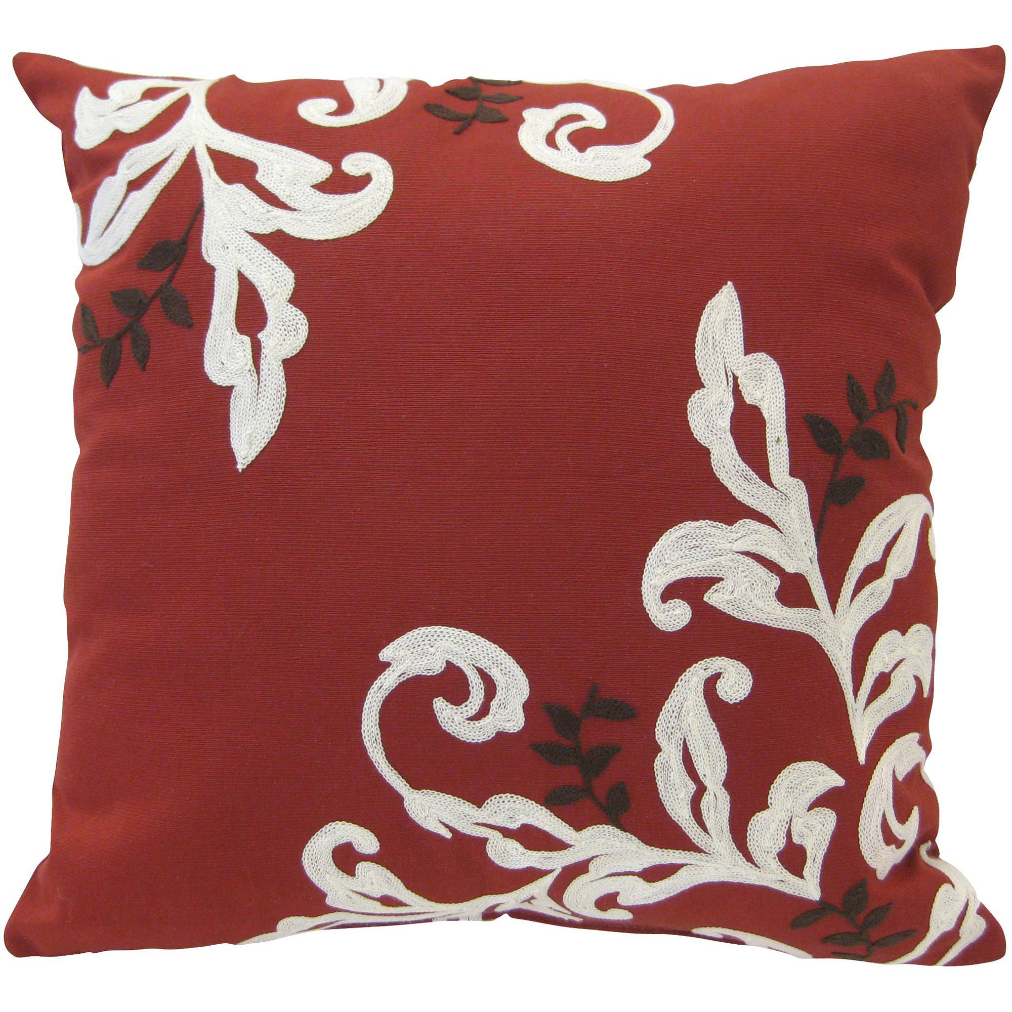 Better Homes and Gardens Citrus Scroll 18''x18'' Decorative Pillow, Red