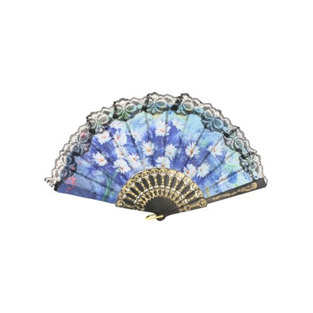 Unique Bargains Gold Tone Black Plastic Frame Daisy Flower Pattern Nylon Mounted Hand Fan](Plastic Hand Fan)