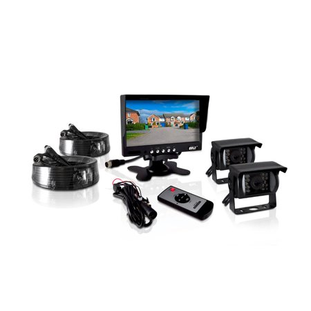 Weatherproof Rearview Backup Camera & Monitor Video System, Commercial Grade, 2 Cameras, 7