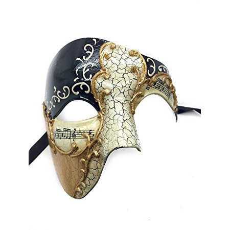 Masquerade Face Mask (Gold Lining Black Musical Half Face Venetian Masquerade Mask Phantom Design for Men by)