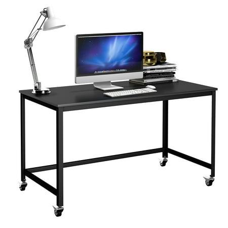 Costway Rolling Computer Desk Wood Top Metal Frame Laptop Table Study Workstation Black (Rolling Computer Desk Wood)