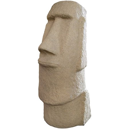 "EMSCO Easter Island Head Statue – Natural Sandstone Appearance – Made of Resin – Lightweight – 28"" Height (Scale Resin Statue)"