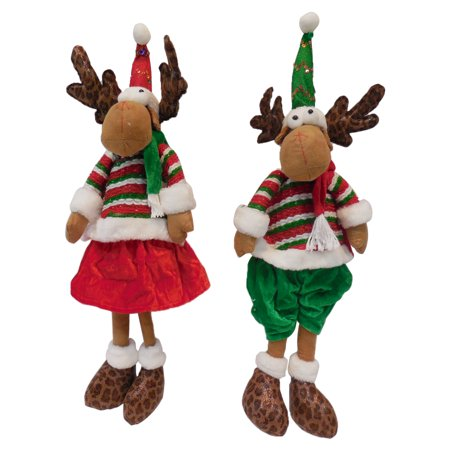 Christmas Decorations Ornament Gift Lovely Sitting Reindeer Boy & Girl