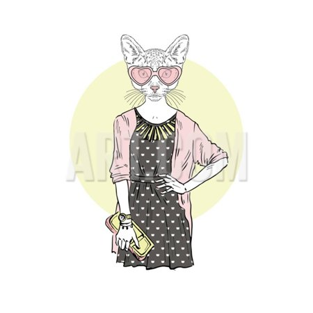 - Hipster Cat Girl with Purse Print Wall Art By Olga_Angelloz