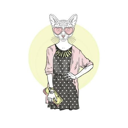 Hipster Cat Girl with Purse Print Wall Art By Olga_Angelloz Big Cat Art
