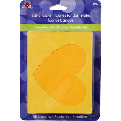 Plaid Basic Icons Stencil Pack, 48-Count