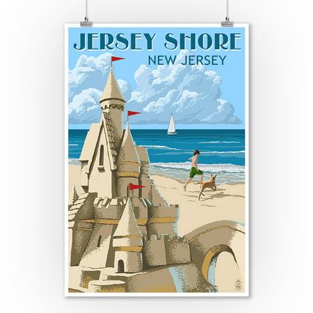 Jersey Shore - Sandcastle - Lantern Press Artwork (9x12 Art Print, Wall Decor Travel Poster) - Jersey Shore Dress Up