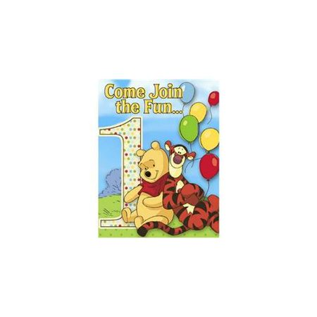 Winnie The Pooh Birthday Card (Winnie the Pooh and Pals Invitations w/ Envelopes)