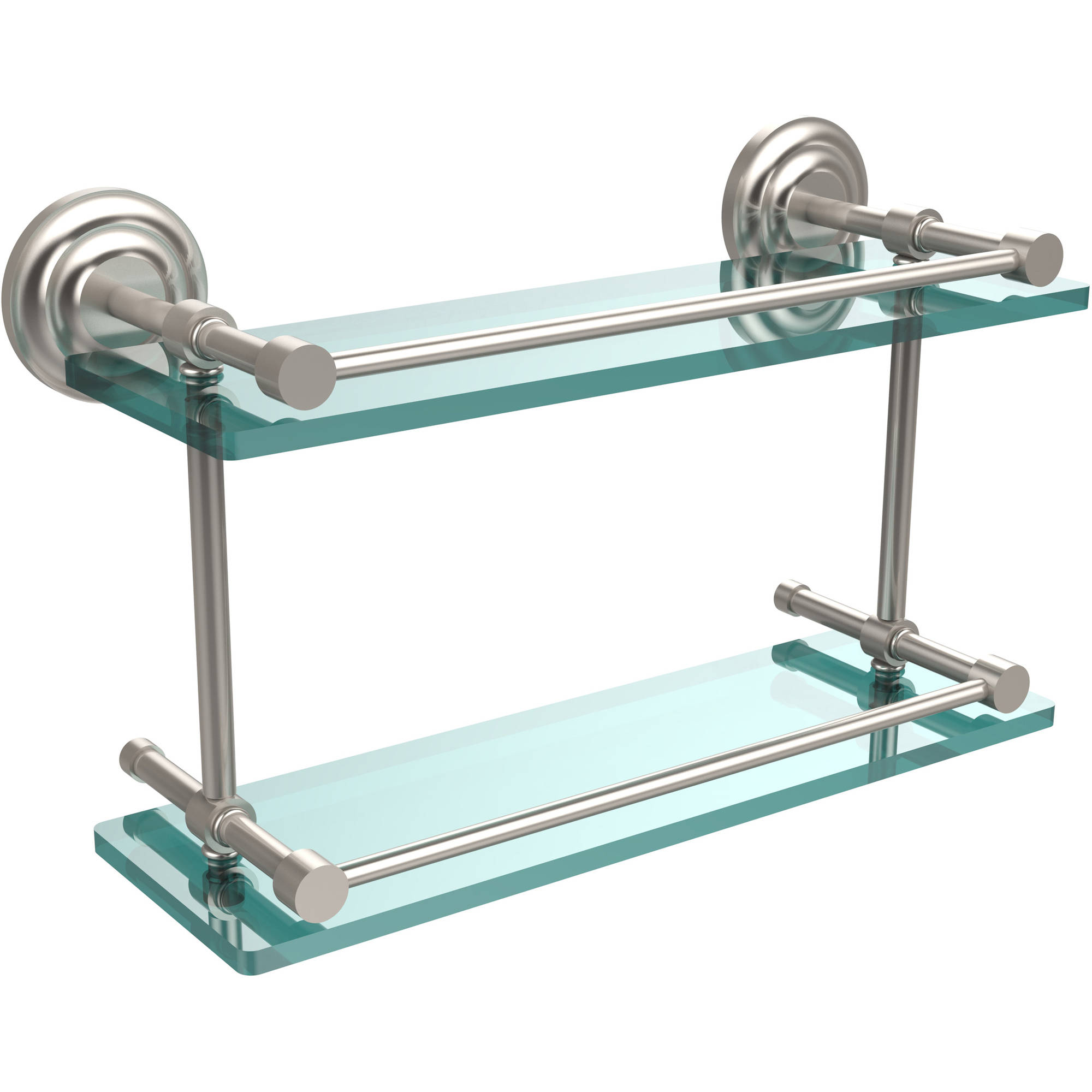 "Que New 16"" Double Glass Shelf with Gallery Rail"