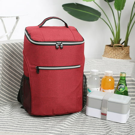 20L Oxford Cloth PEVA Waterproof Hot Cold Insulated Leakproof Large Capacity Thermal Cooler Lunch Bag Backpack Tote Work School Travel Picnic Lunch Beach Camping 15x11x8inch thumbnail