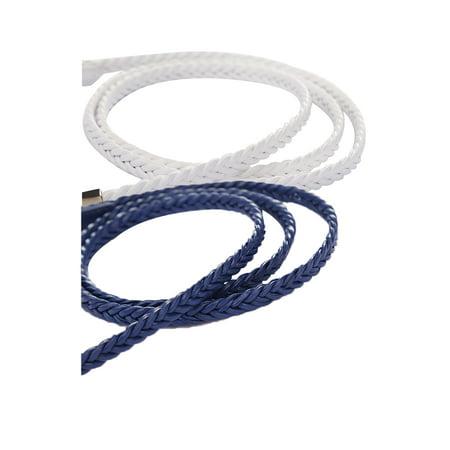 Unique Bargains Women's Arrow Tail Matel Keeper Woven Slender Belt Navy Blue+White - image 1 de 7