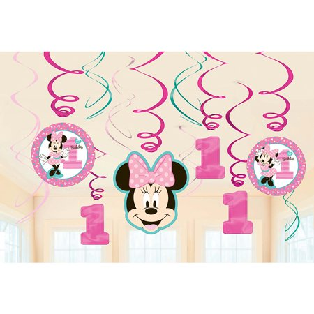 Minnie's Fun To Be One Foil Swirl Decorations (12 Pieces)](Minnie Mouse 1st Birthday Decorations)
