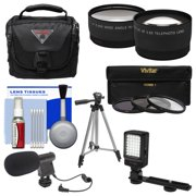 Essentials Bundle for Panasonic HC-W870K, WXF991K, V770K, VX981K, X920 Camcorder with Case + LED Light + Microphone + Tripod + 3 UV/CPL/ND8 Filters + Tele/Wide Lenses Kit