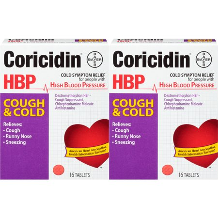 CORICIDIN HBP COUGH AND COLD RELIEVES COUGH RUNNY NOSE SNEEZING 16 TABLET 2 (Best Medicine For Cough And Sneezing)