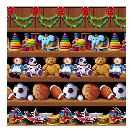 Cristmas (Happy New Year) Santa's Workshop Backdrop 4ft. x 30ft. Party Accessory (1/pkg) Pkg/3, Create Stunning Eye-Catching Displays By - Happy New Year Accessories