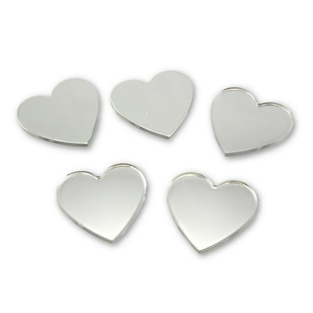 Small Mirror Tiles (Acrylic Small Heart Mirrors 1.5 x 1.5 Inch 5 Pieces Heart Mirror Mosaic)