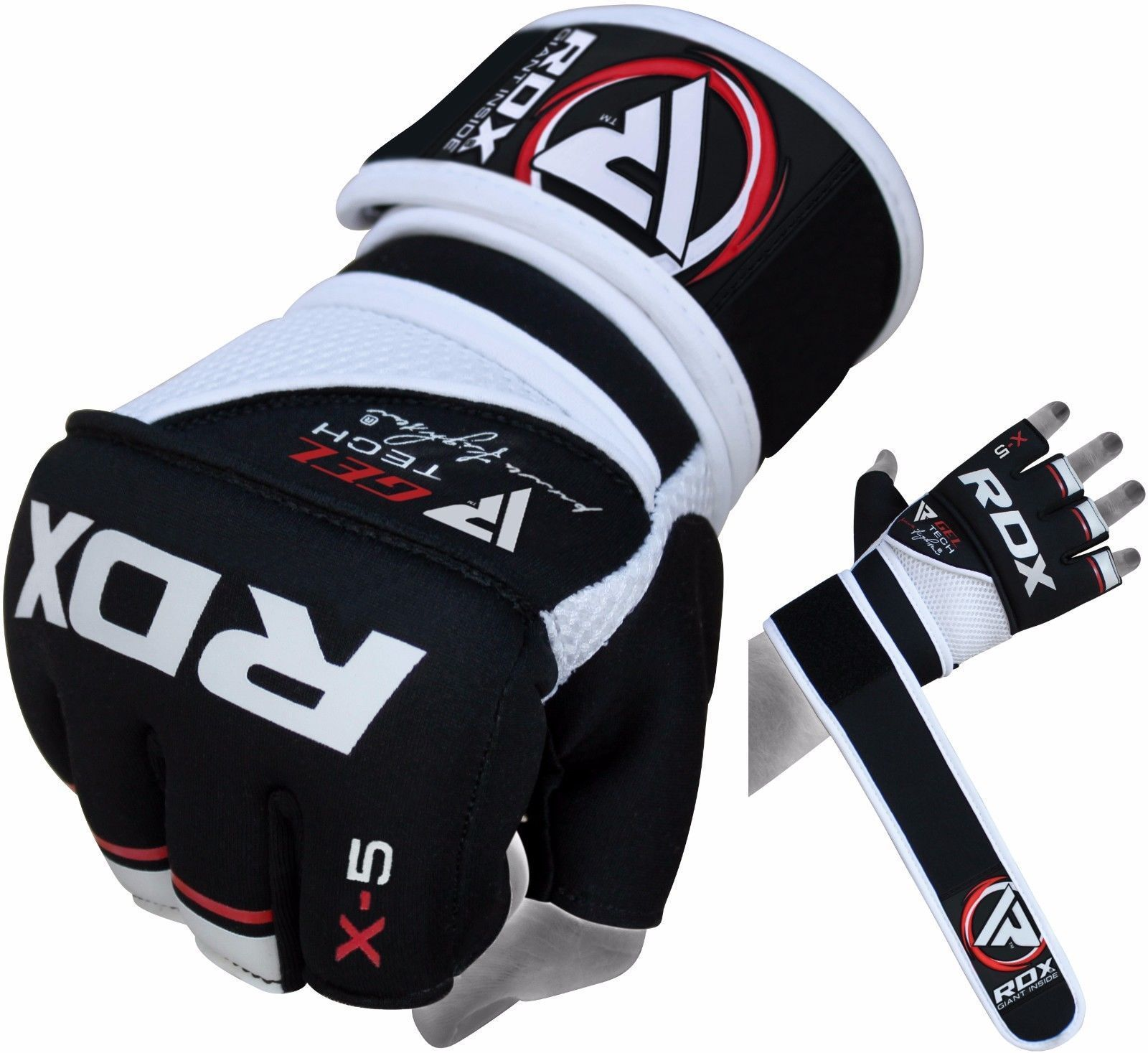 RDX X5 MMA Grappling Gloves Long Straps Fight Sparring Training Punching UFC