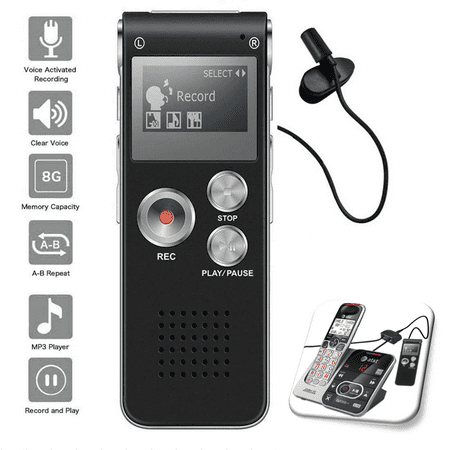 Voice Activated Digital Recorder 8GB USB w Microphone Landline Phone