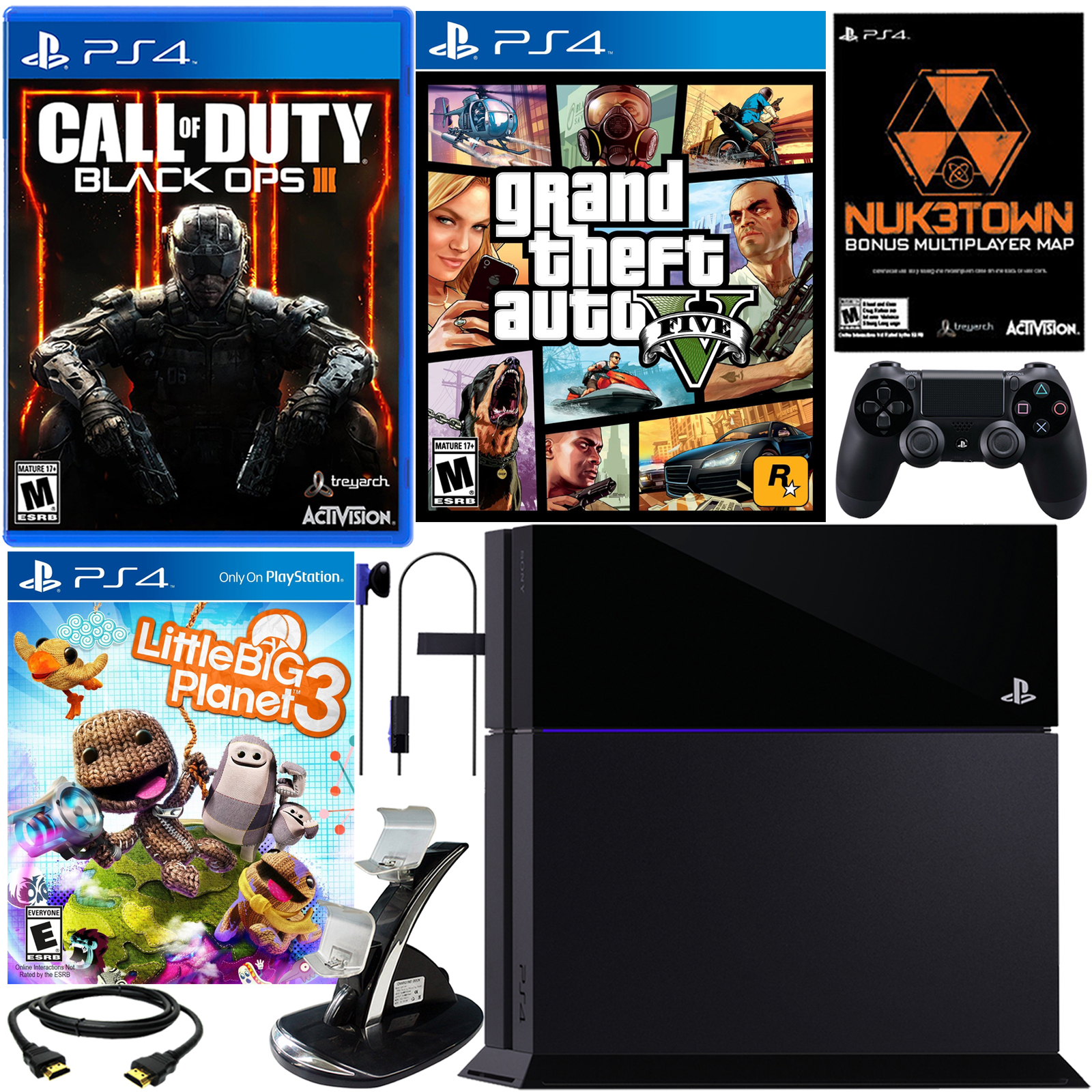 PlayStation 4 500GB Black Ops III Bundle with 2 Games and Silicone Sleeve