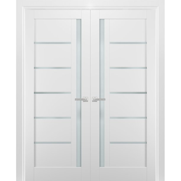 French Double Panel Lite Doors 56 X 96 With Hardware Quadro 4088 White Silk With Frosted Opaque Glass Pre Hung Panel Frame Trims Bathroom Bedroom Interior Sturdy Door Walmart Com Walmart Com