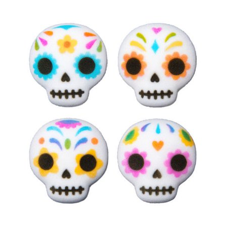 Day of The Dead Skulls Edible Sugar Decorations - 12 Count ()